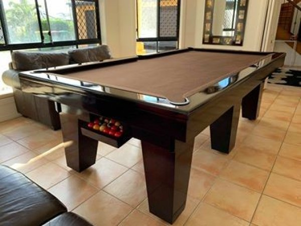 Lovely Brown Felt Slate Top Pool Table